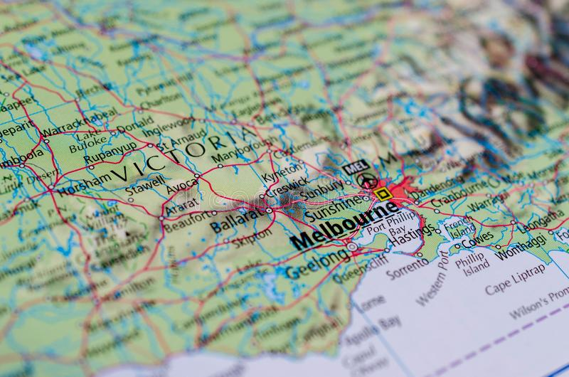 Melbourne sulla mappa immagine stock