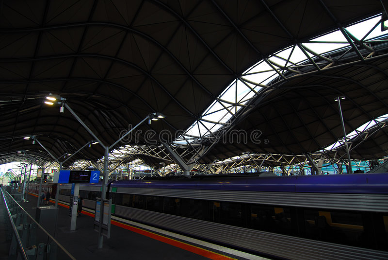 Melbourne train station platform. stock photo