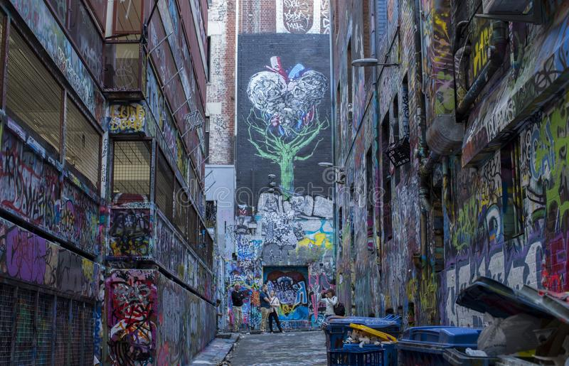 Melbourne Urban Alley Street Art stock photography