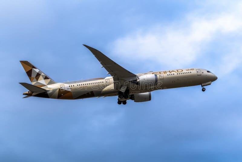 Melbourne, Victoria, Austrália - 21 de maio de 2018: Etihad Airways Boeing 787 fotos de stock royalty free