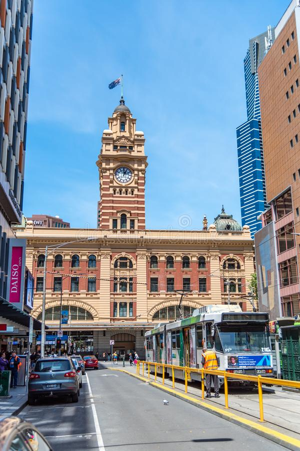 Street Railway Station is on the corner of Flinders and Swanston Streets in Melbourne. It serves the entire metropolitan rail stock photo