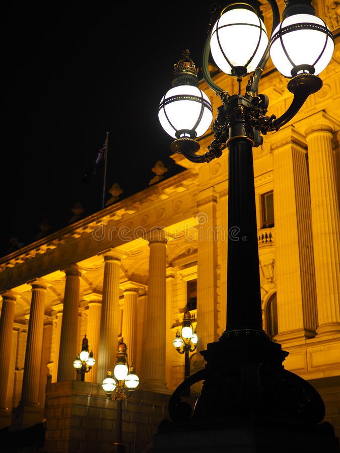 Melbourne Victoria parliament by night stock photos