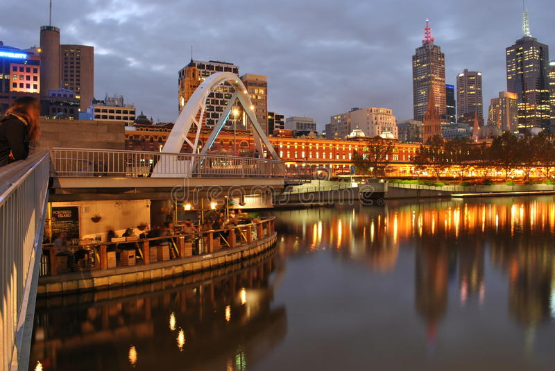 Melbourne Yarra River Bar. View of Melbourne Yarra River stock photography