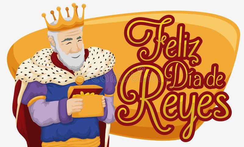 Melchior Magi com ouro que comemora o esmagamento ou a Dia de Reyes, ilustração do vetor ilustração royalty free