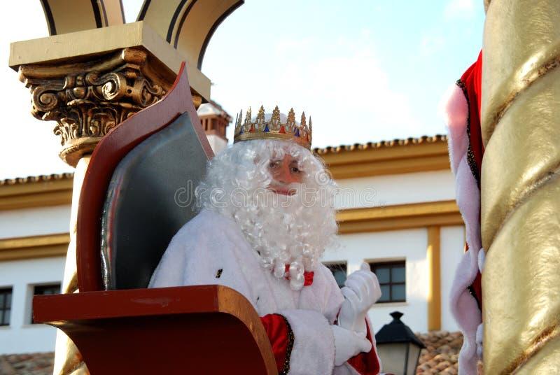 Melchor Magi che si siede in suo trasporto, La Cala de Mijas, Spagna immagine stock libera da diritti