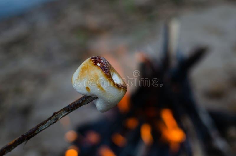 Melcocha en una ramita asada en un fuego fotos de archivo