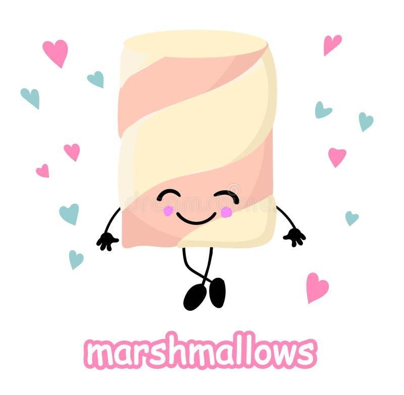 Melcochas con los ojos y las sonrisas Cara divertida Personaje de dibujos animados lindo Símbolo de la muestra del amor Endecha m stock de ilustración