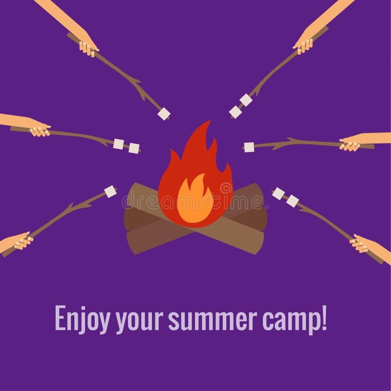 Melcochas de la asación en acampar del fuego libre illustration