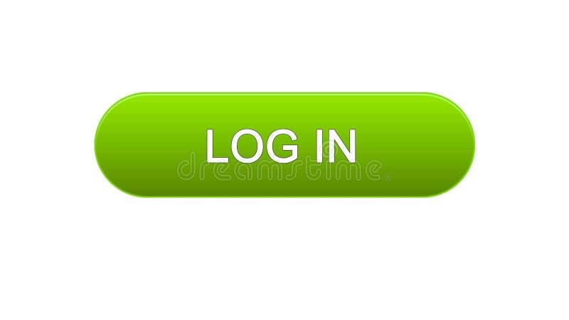 Melden Sie grüne Farbe des Netzschnittstellenknopfes, Online-Bewerbungs-Service, Standortdesign an lizenzfreie abbildung
