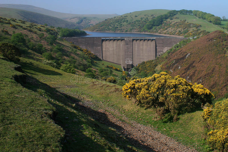 Meldon dam near Okehampton Devon. Meldon dam on the North Western slopes of Dartmoor was built in 1972 to supply water to the rapidly expanding town of royalty free stock photos