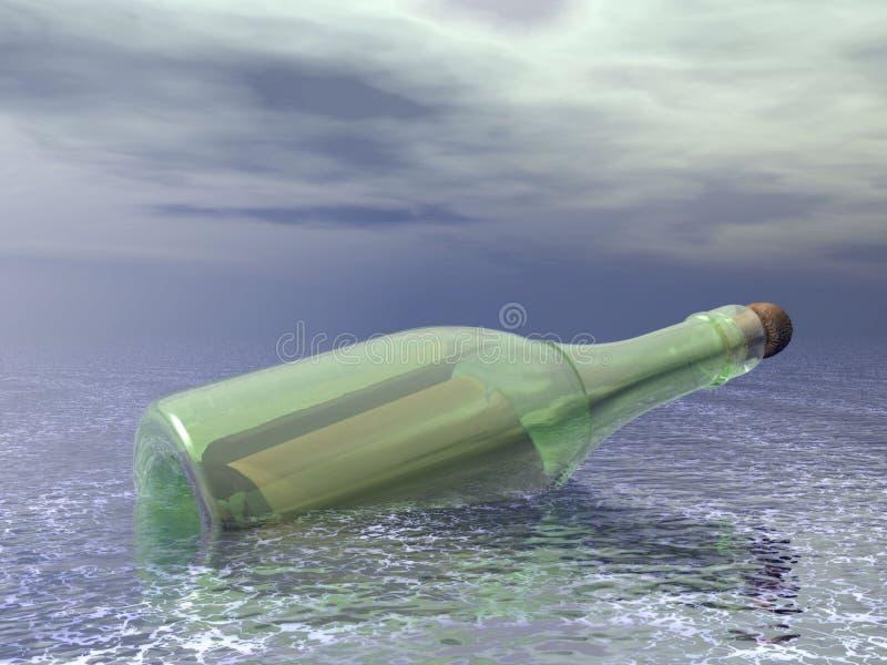 Meldung in einer Flasche stock abbildung
