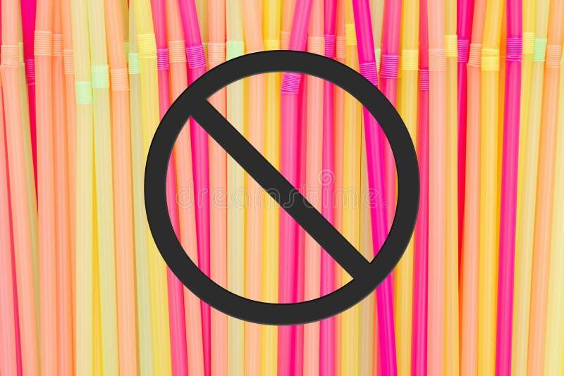 Meldung 'Plastic Straw Ban' mit mehrfarbigen Strohhalmen aus Kunststoff lizenzfreie stockfotografie