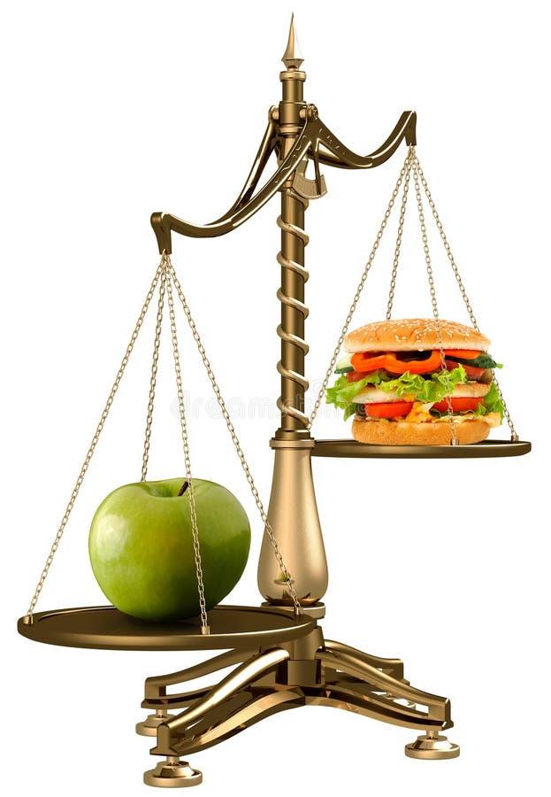Mele anziché gli hamburger fotografie stock libere da diritti