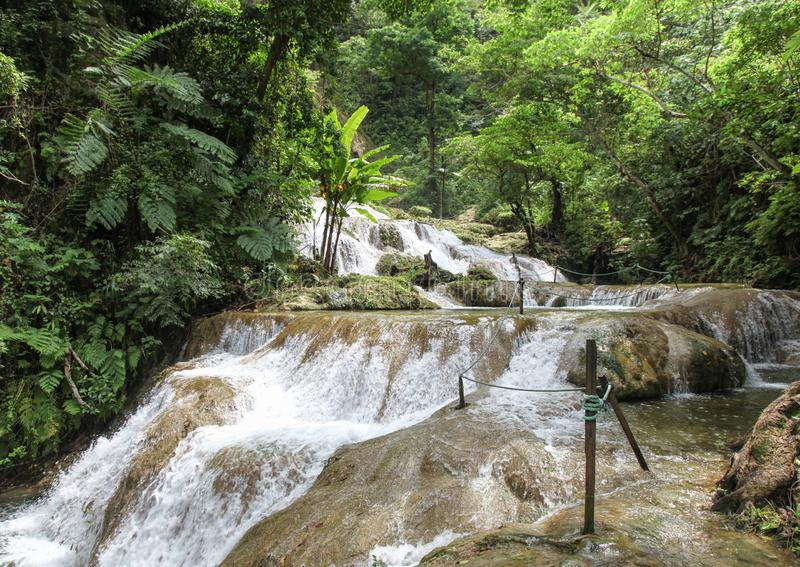 Mele Cascades - Vanuatu South Pacific. Mele cascades are located on Efate in Vanuatu and are a popular tourist destination where people can enjoy the scenery and stock photos