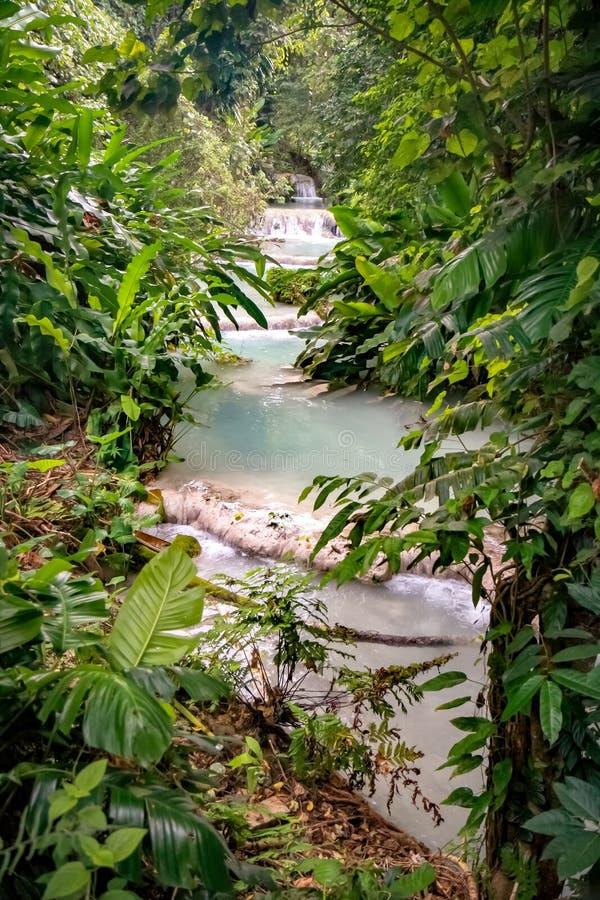Mele Cascades Waterfall Port Vila Vanuatu. Turquoise pools of the Mele Cascades Waterfall Port Vila Tropical Vanuatu stock photography