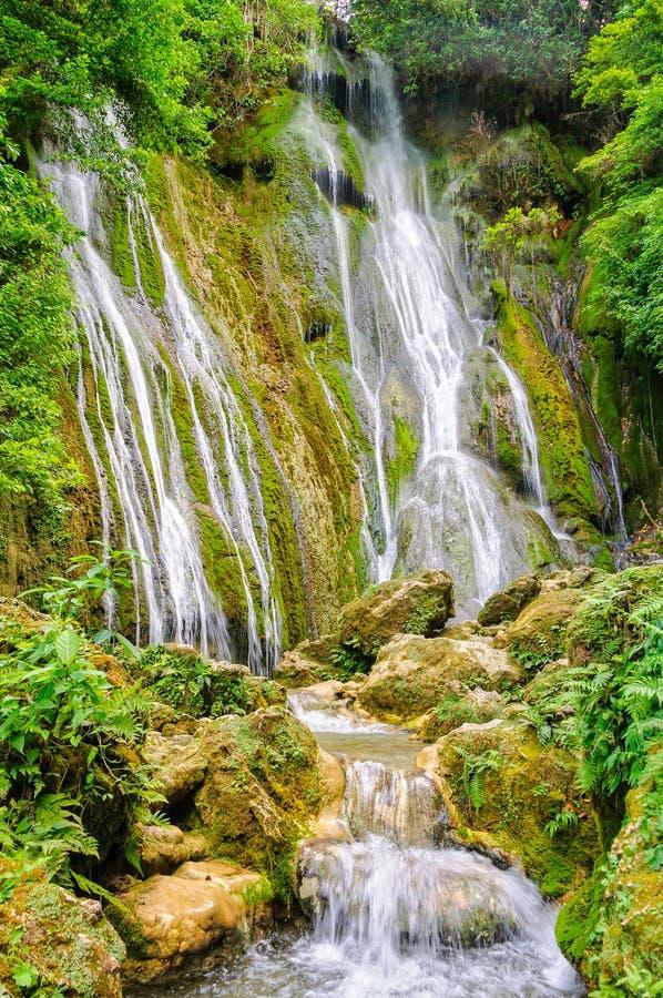 Mele Cascades Waterfalls - Port Vila. The 35m tall upper section of the Mele Cascades Waterfalls - Port Vila, Efate Island, Vanuatu royalty free stock photography