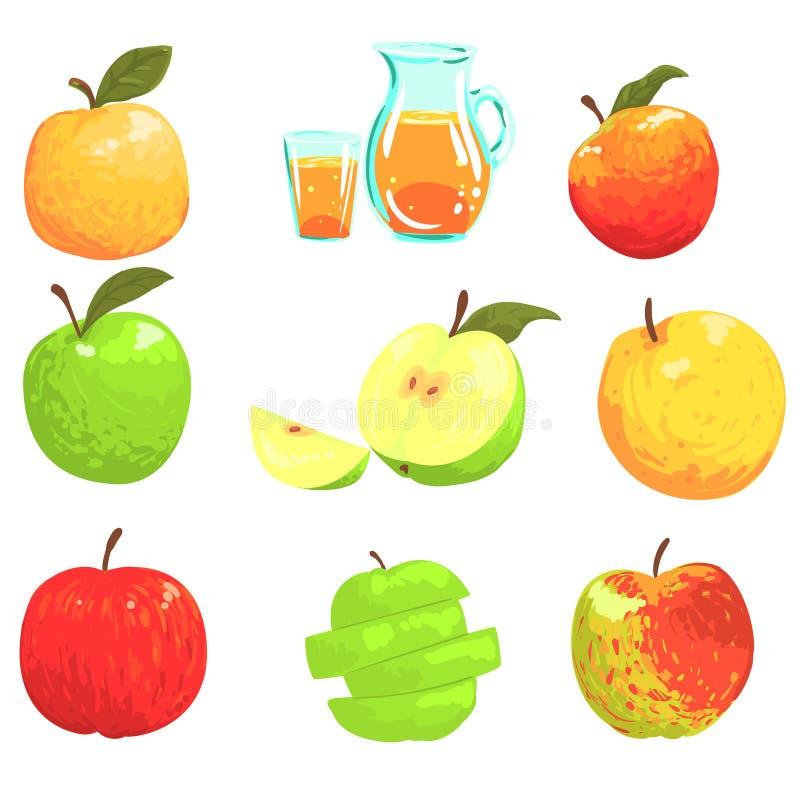 Mele e Apple Juice Cool Style Bright Illustrations illustrazione vettoriale