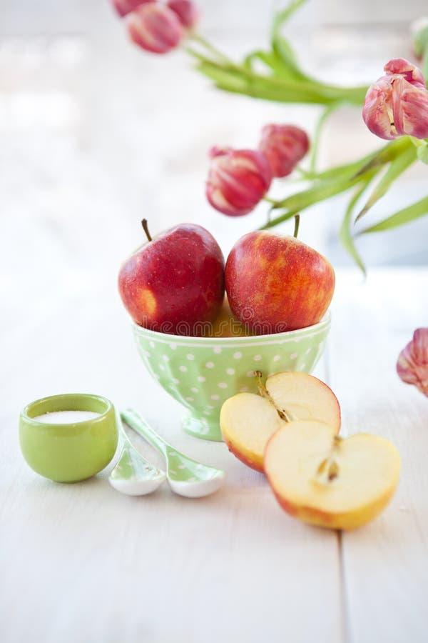 Mele mature rosse fresche fotografie stock