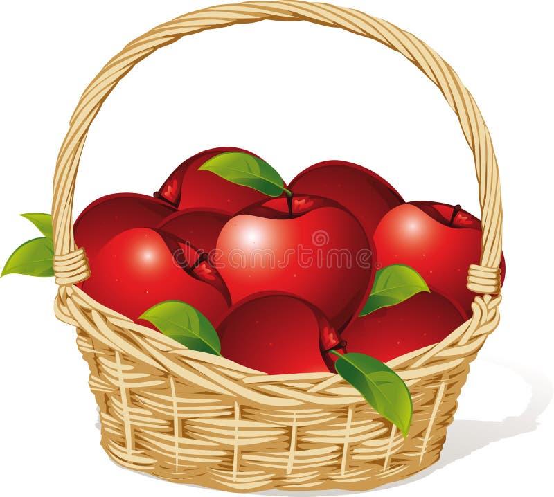 Mele rosse in un canestro isolato su bianco illustrazione vettoriale