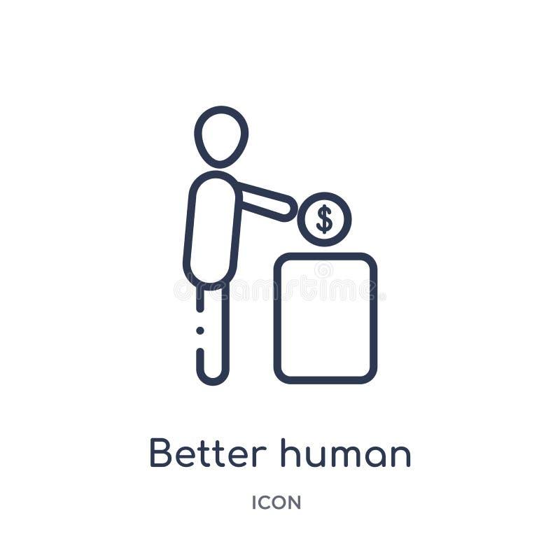 Melhor ícone humano linear da coleção do esboço dos sentimentos Linha fina melhor vetor humano isolado no fundo branco melhor ilustração royalty free