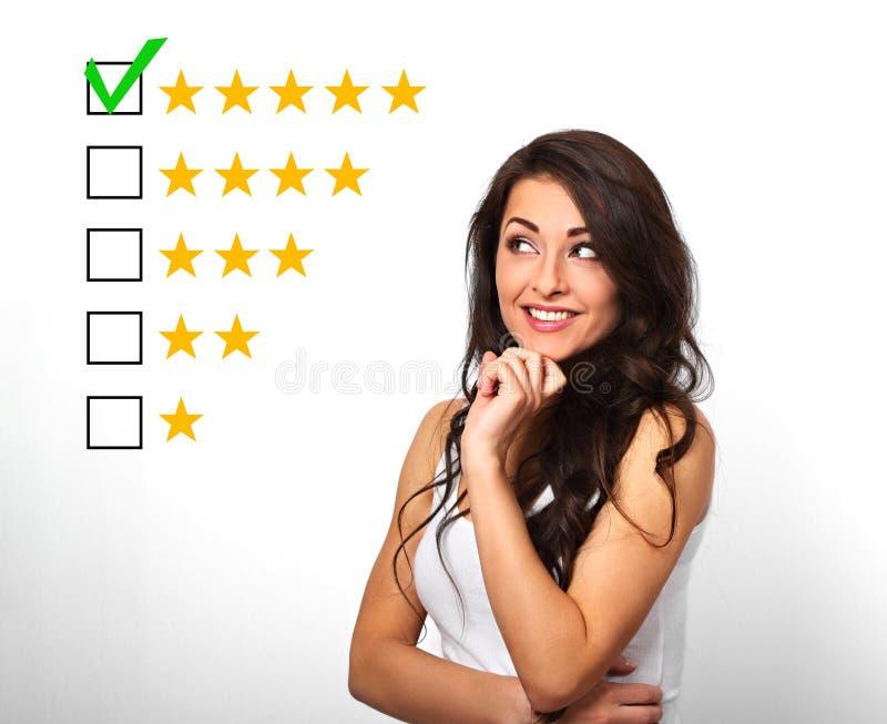 A melhor avaliação, avaliação, rewiew em linha Negócio h seguro foto de stock