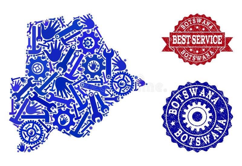 A melhor composição do serviço do mapa de Botswana e de selos riscados ilustração do vetor