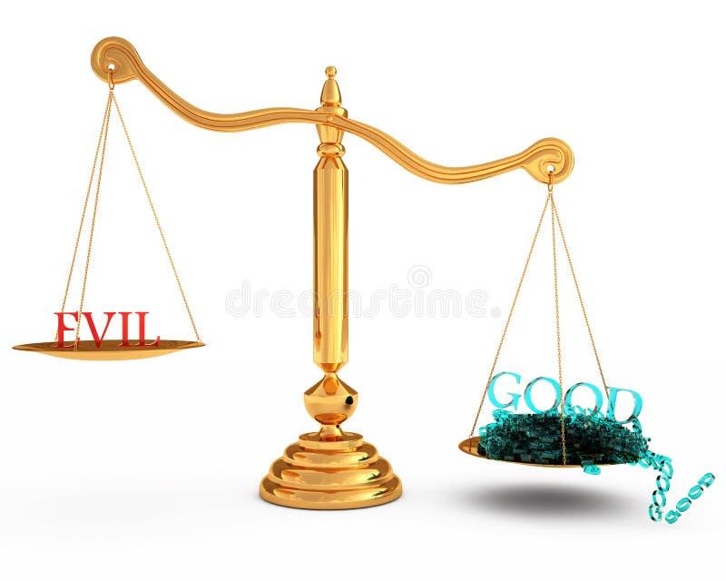 Melhor do que o mal nas escalas do ouro ilustração do vetor