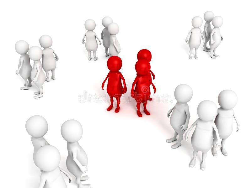 a melhor equipe do negócio humano vermelho dos povos 3d ilustração royalty free