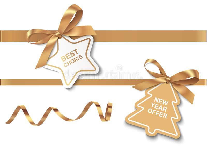 A melhor escolha e da oferta do ano novo etiquetas com curvas e as fitas douradas ilustração stock