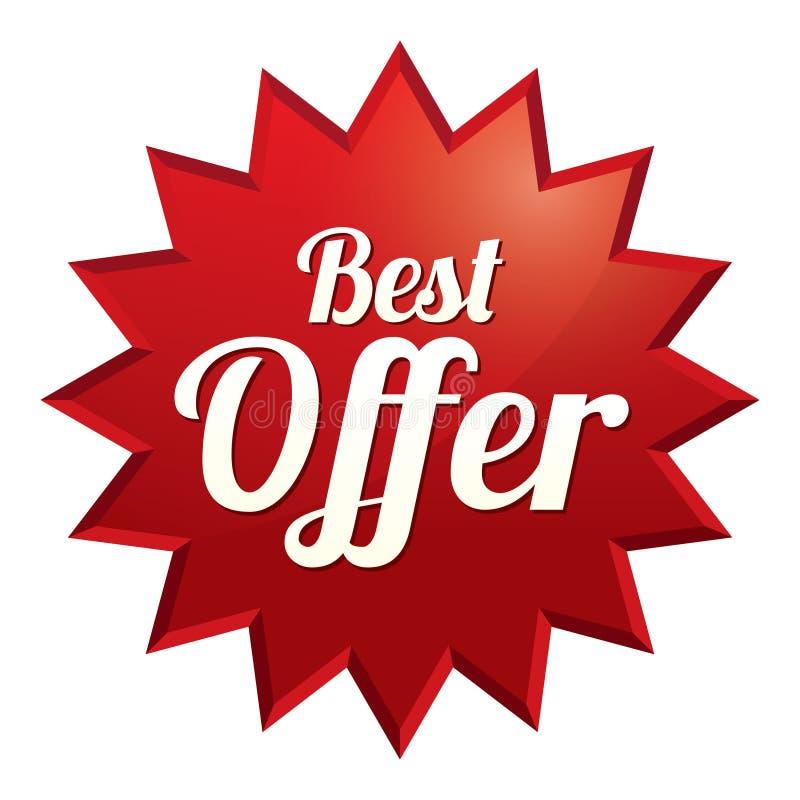 A melhor etiqueta da oferta (vetor). Etiqueta vermelha (ícone) ilustração royalty free