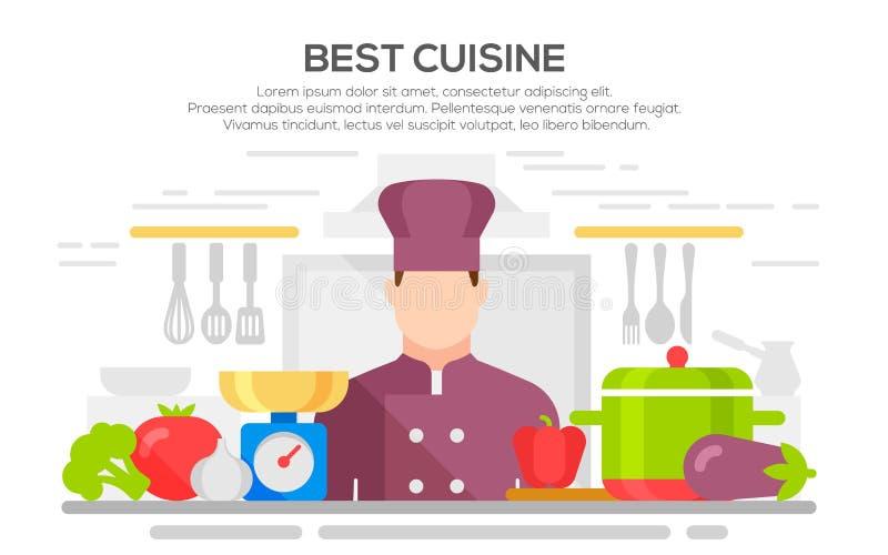 A melhor ilustração do conceito da culinária ilustração stock
