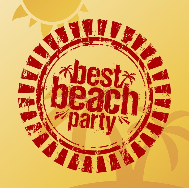 A melhor impressão de um carimbo de borracha, sinal do partido da praia do verão ilustração stock