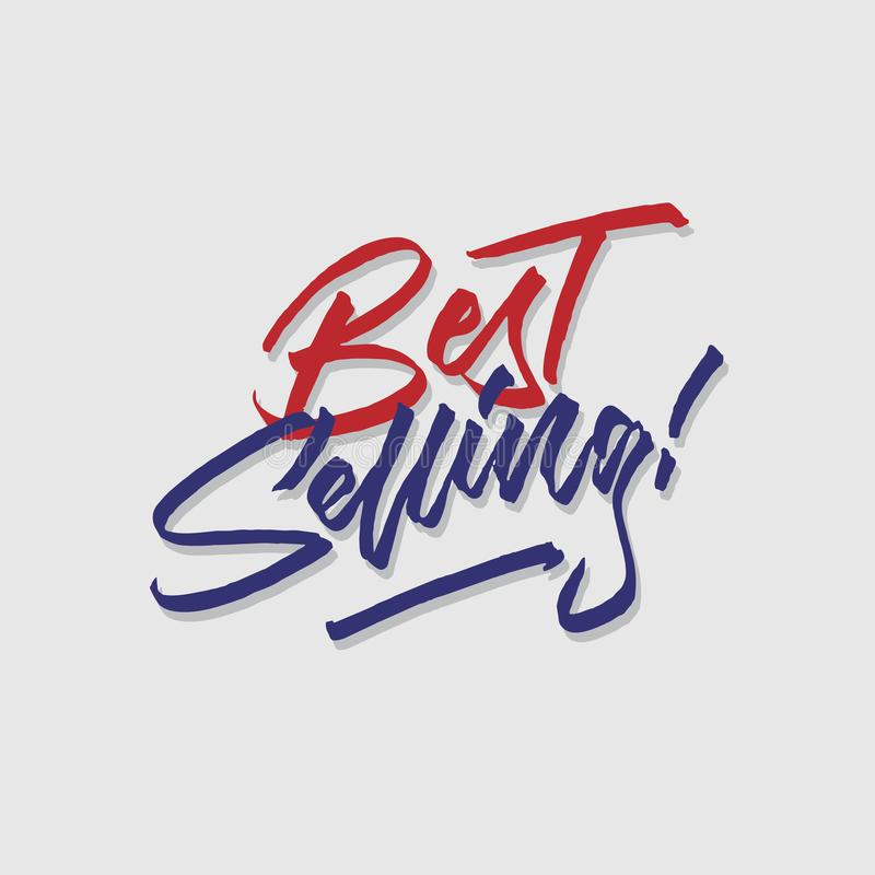 A melhor loja de venda das vendas e do mercado da tipografia da rotulação da mão armazena o cartaz do signage ilustração do vetor