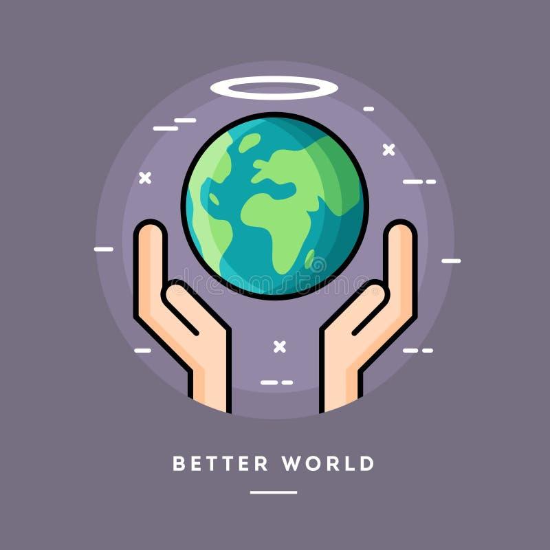 Melhor mundo, linha fina bandeira do projeto liso ilustração stock