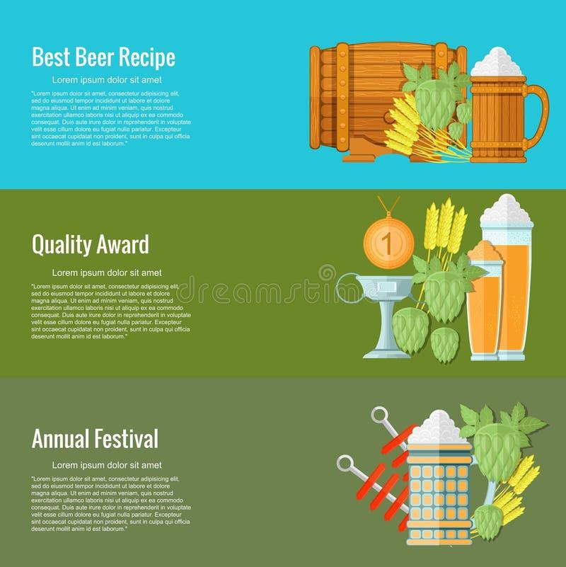 A melhor receita da cerveja, concessão da qualidade, festival anual Conceitos para bandeiras e materiais promocionais da Web ilustração stock