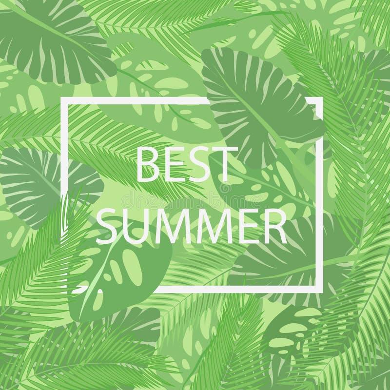 A melhor rotulação do verão em um quadro no fundo do verde tropico fresco sae do cartaz Bandeira exótica moderna ilustração stock