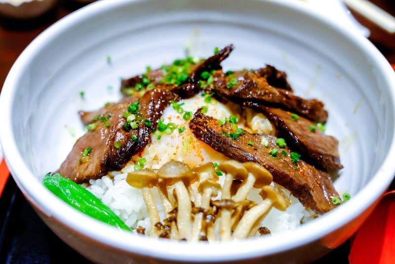 Melhore a bacia de arroz, carne tradicional de Gyudon do alimento japonês imagem de stock