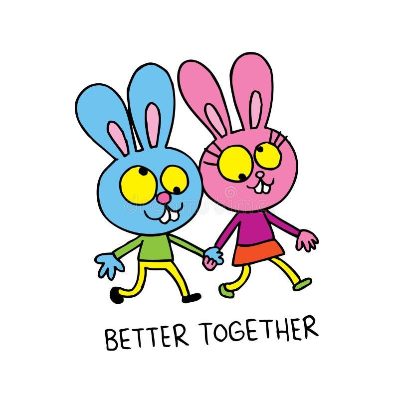 Melhore junto - coelhos bonitos no amor ilustração stock