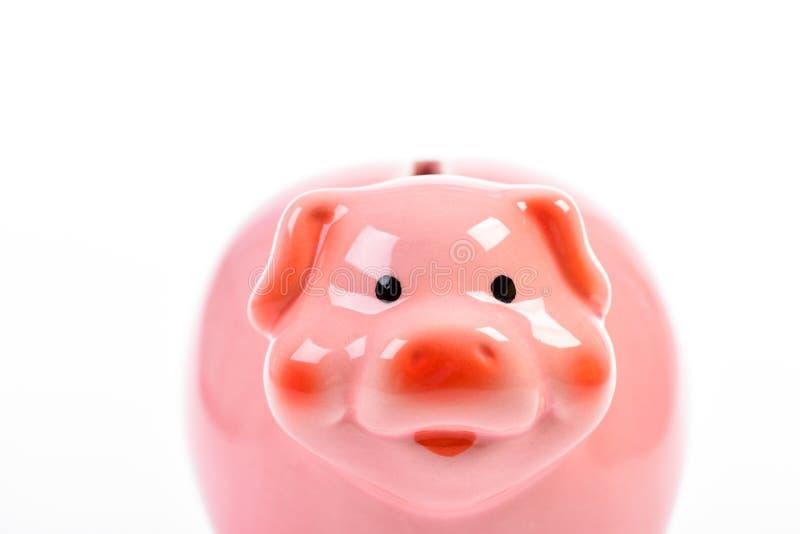 Melhore a maneira de depositar Símbolo do mealheiro de economias do dinheiro Como obter o livro falsificado rico Fim cor-de-rosa  imagens de stock royalty free