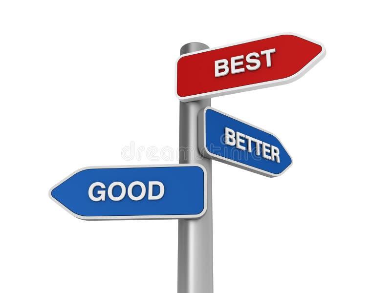 Melhore melhor a boa escolha ilustração royalty free