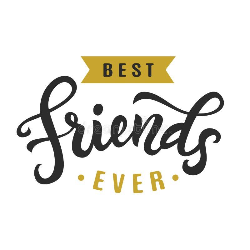 Melhores amigos nunca Cartaz bonito do dia da amizade ilustração stock