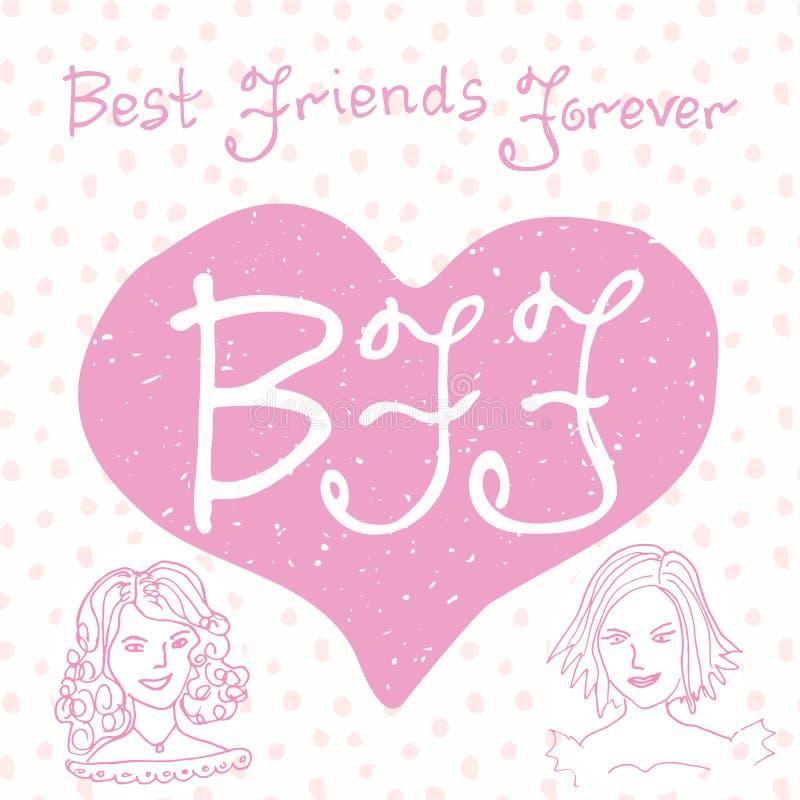 Melhores amigos para sempre Citações da rotulação da mão, letras de BFF na forma do coração, ilustração bonito em um fundo criati ilustração stock
