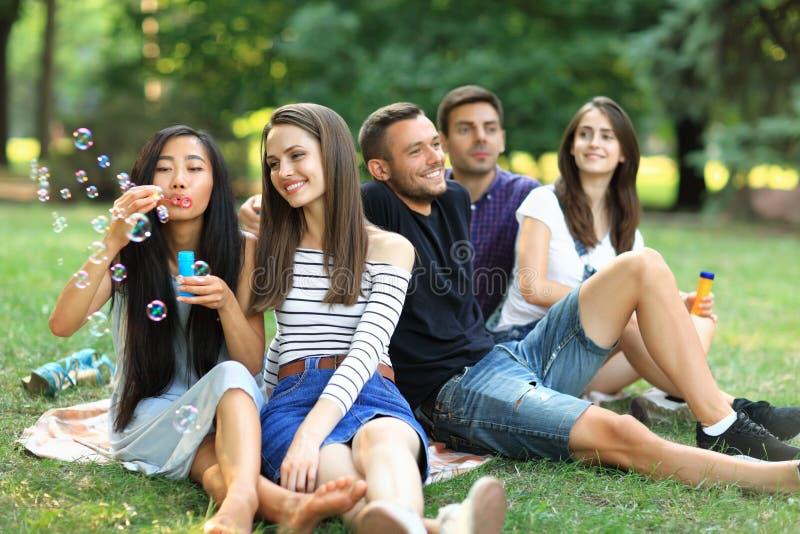Melhores amigos que descansam no parque e em bolhas de sabão de sopro imagem de stock royalty free