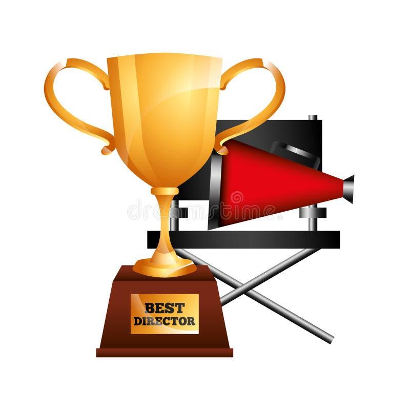 A melhores concessão do copo do troféu do diretor e megafone da cadeira ilustração royalty free