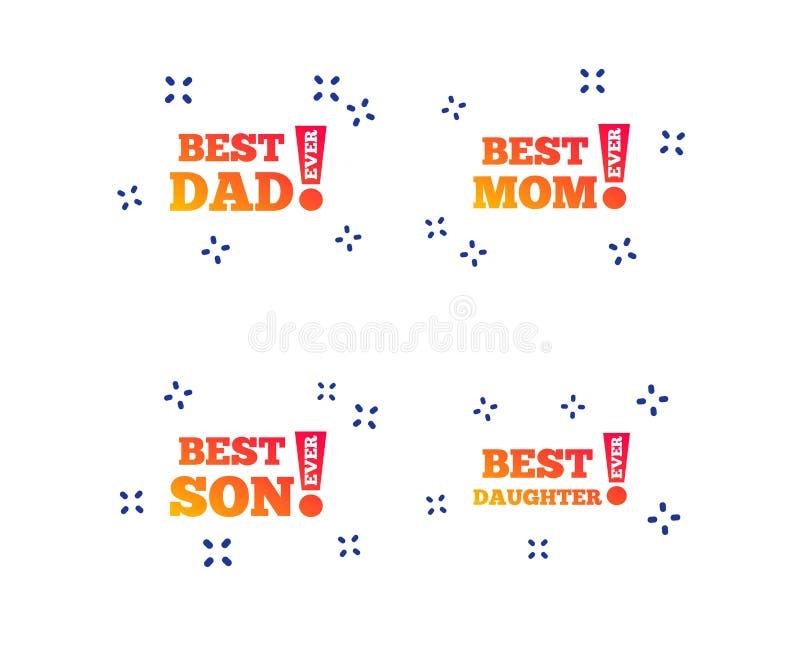 A melhores mamã e paizinho, filho, ícones da filha Vetor ilustração royalty free