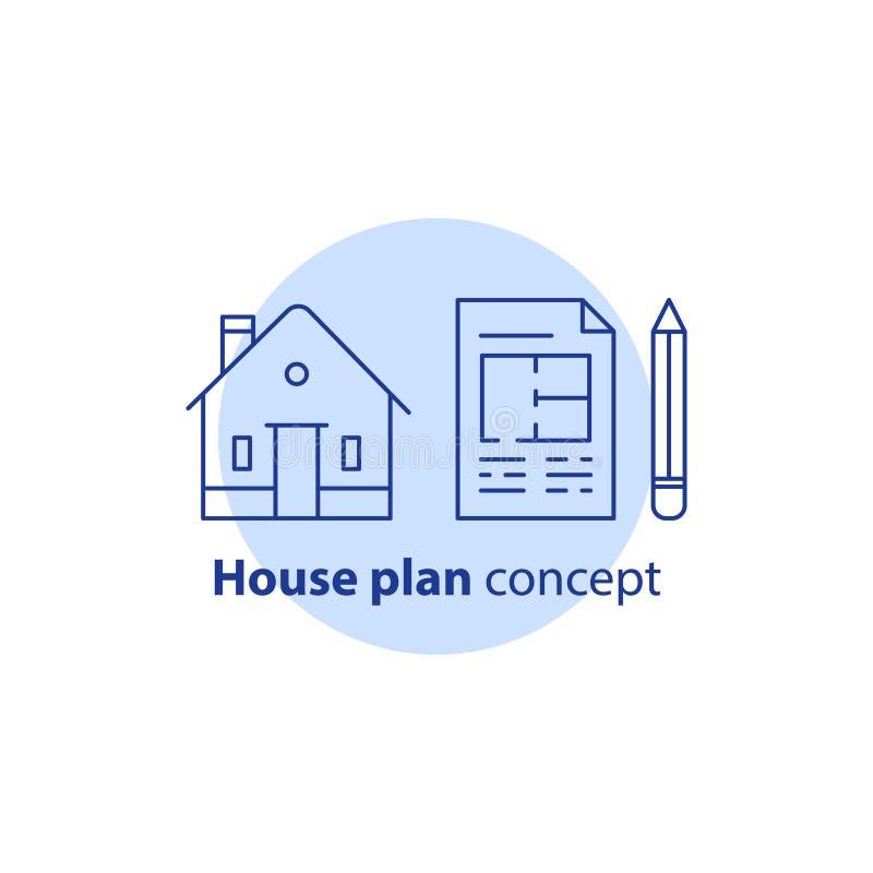Melhoria e remodelação home, serviços do plano da casa, conceito da renovação da construção residencial, modelo e lápis, ícone do ilustração do vetor