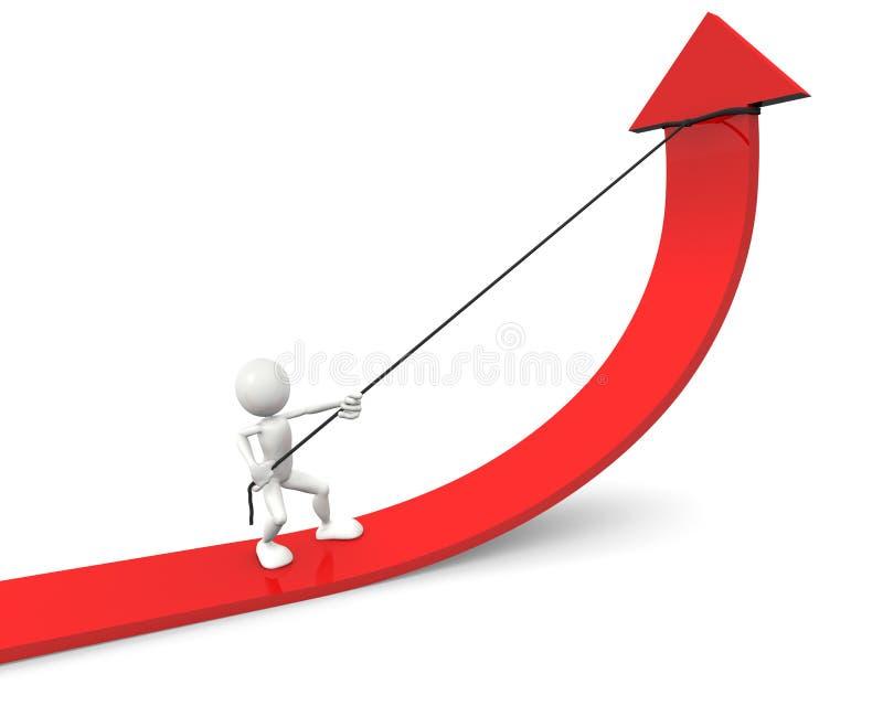 Melhoria vermelha da seta do gráfico ilustração royalty free