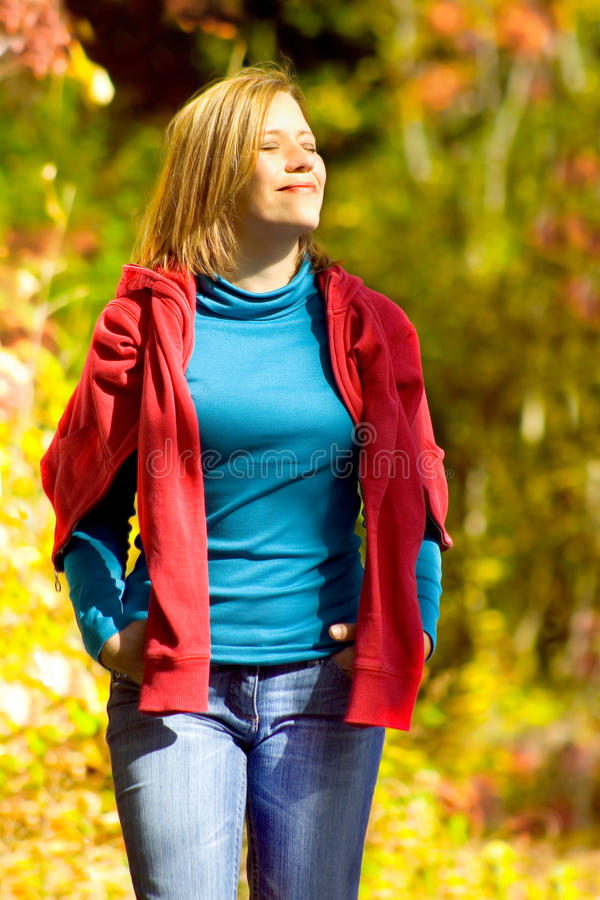 Meli 5. Young girl taking a walk in an autumn forest stock images