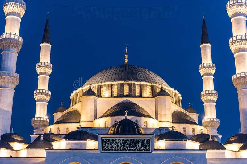 Melike Hatun Mosque in Ankara, Turkey. Melike Hatun Mosque is a new mosque in Ankara, Turkey. The mosque is in the old quarter of Ankara, known as Hergele stock photo