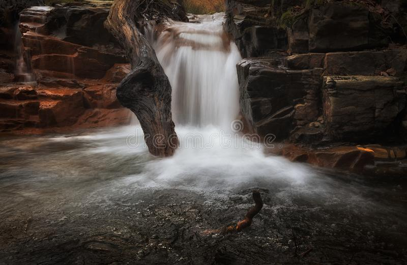 Melincourt Brook cascade. One of the many waterfalls at Melincourt Brook in Resolven, South Wales, UK stock images
